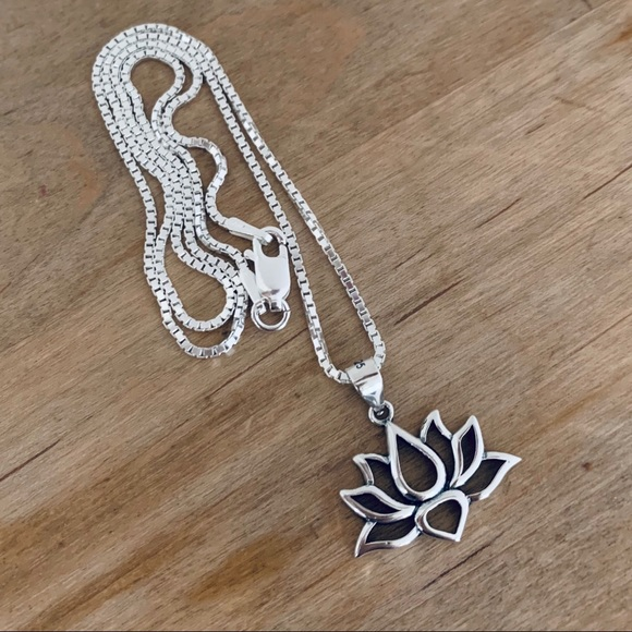 sterling silver lotus /& turquoise oxidised tassel pendant Sterling silver oxidised tassel pendant